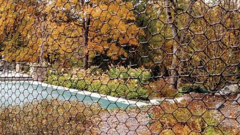 Closeup of plastic-coated deer fencing.