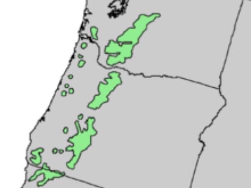 natural range of <em>Abies procera</em>