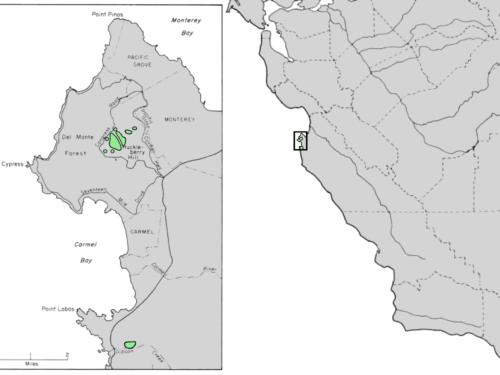 Native range of <em>Cupressus goveniana </em>