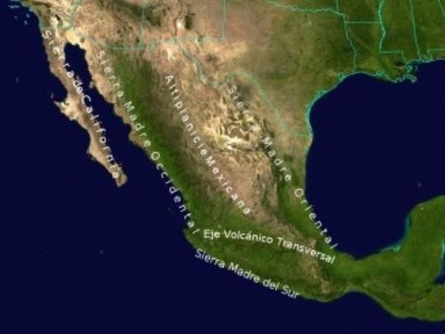 Geographic map of Mexico.