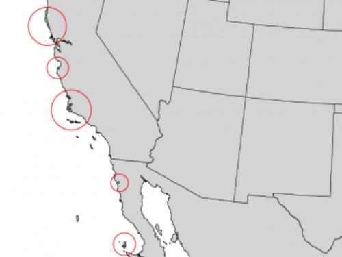 natural range of <em>Pinus muricata </em>