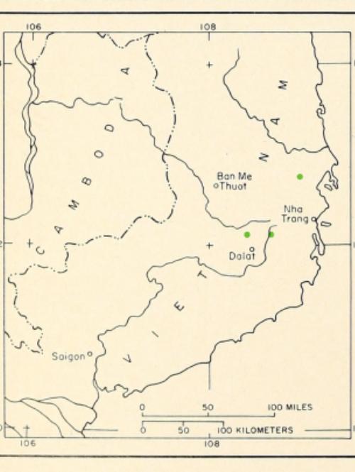 known populations of <em>Pinus krempfii </em>