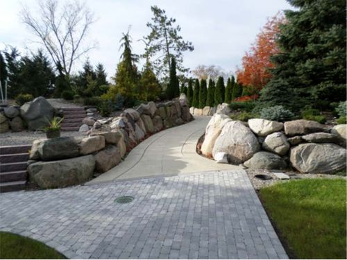 The conifer garden's walkway to the bus stop