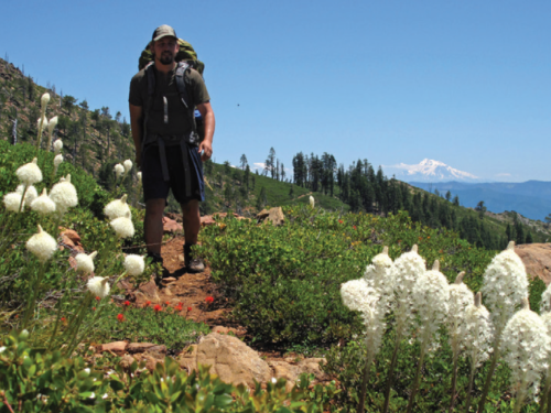 The Bigfoot Trail follows the Boundary Trail through the Red Buttes Wilderness along the California-Oregon border. Dr. Jeffrey Kane is seen here on the Boundary Trail