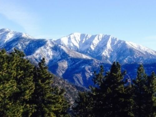 The north face of Old Baldy (aka Mount San Antonio) viewed from Inspiration Point. Old Baldy is one of the highest peaks in the range at just over 10,000 ft.