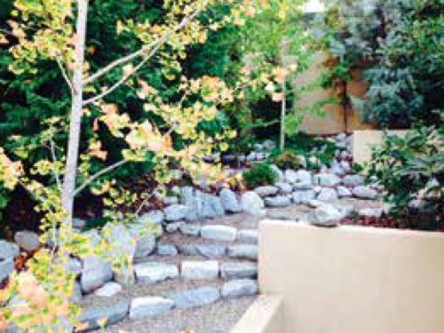 A view of the small garden, stonework, and conifers